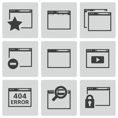 browser icons set Vector