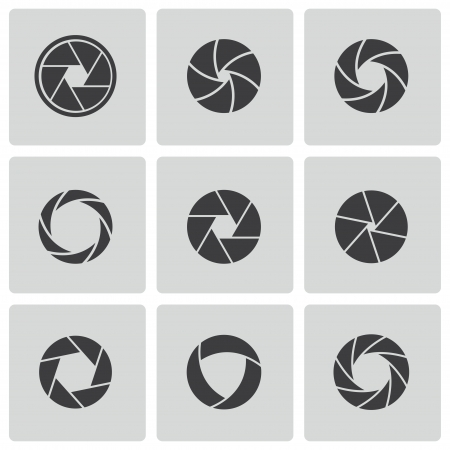 shutter aperture: camera shutter icons set Illustration