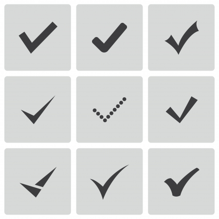 yes check mark: confirm icons set Illustration