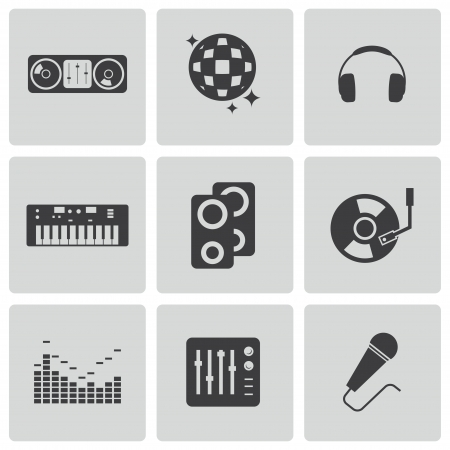 dj icons set Vector