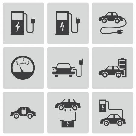 motor car: electric car icons set