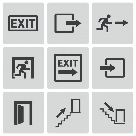 exit emergency sign: exit icons set