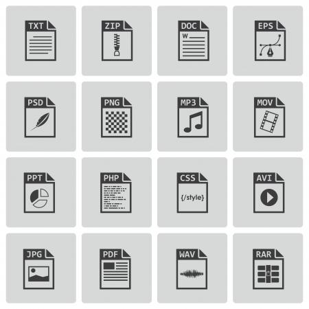 mov: file type icons set