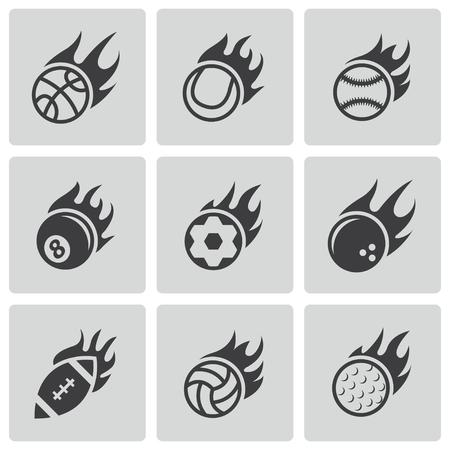 volley ball: black fire sport balls icons set Illustration