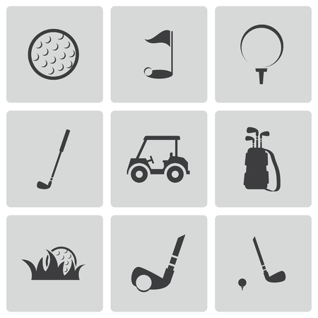 golf club: black golf icons set Illustration