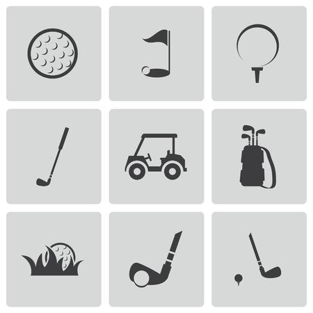 golf cart: black golf icons set Illustration