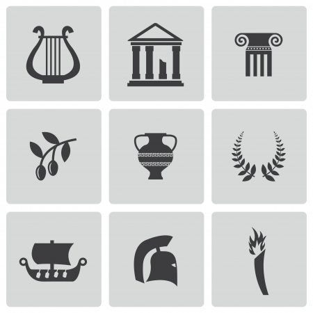roman pillar: black greece icons set Illustration