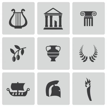 zwarte Griekenland pictogrammen instellen