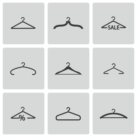 coat hangers: black hanger icons set