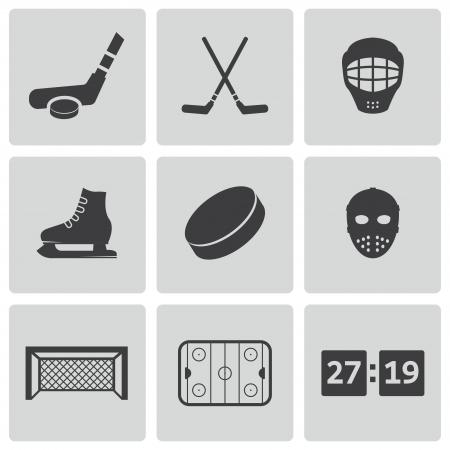 rink: black hockey icons set Illustration