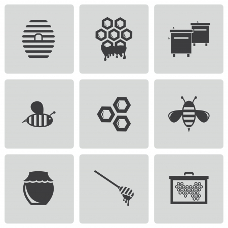 honey jar: black honey icons set