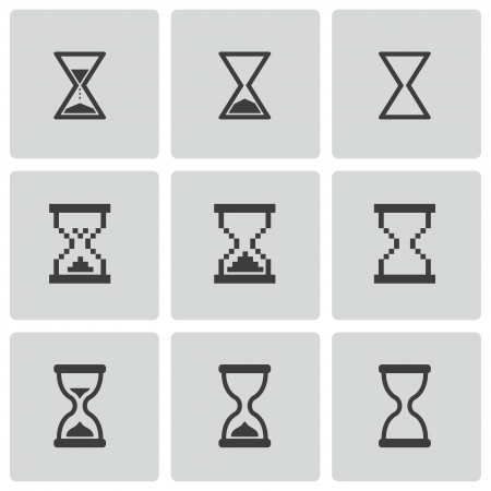 sand timer: black hourglass icons set