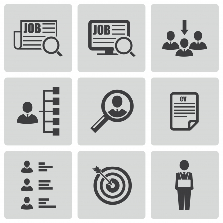 hr: black job search icons set