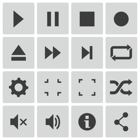 pause: black media player icons set Illustration