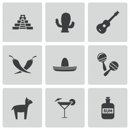 mexican ethnicity: black mexico icons set Illustration