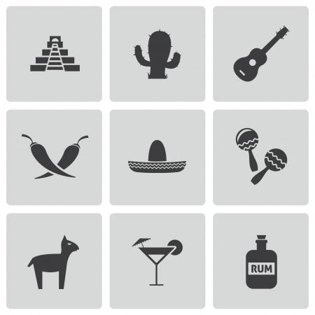 piramide alimenticia: iconos m�xico negro conjunto Vectores