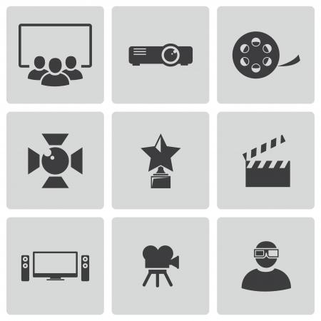 cine: black movie icons set Illustration