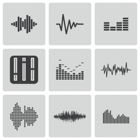 wave: black music sound wave icons set Illustration