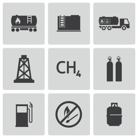 butane: black natural gas icons set Illustration