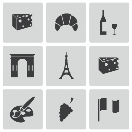 french culture: black paris icons set Illustration