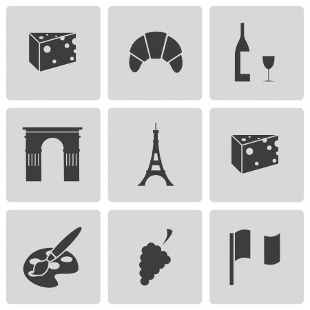 french pastry: iconos par�s negro Conjunto