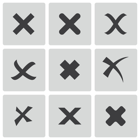 black rejected icons set