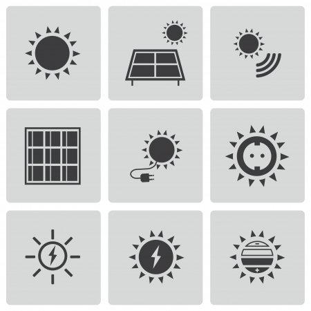 solar panel house: black solar energy icons set