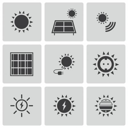 noir icônes de l'énergie solaire mis en Vecteurs