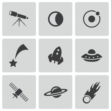 black space icons set on white Vector
