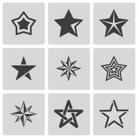 black stars icons set on white Vector
