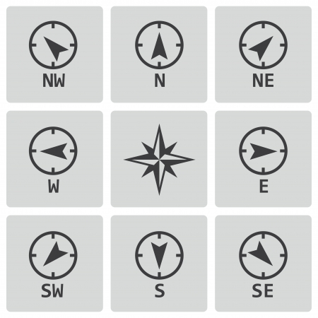 black wind rose icons set on white