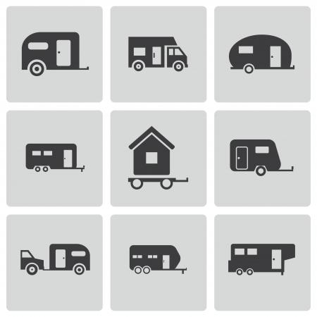 black trailer icons set on white