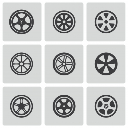 alloy wheel: black wheel disks icons set on white Illustration