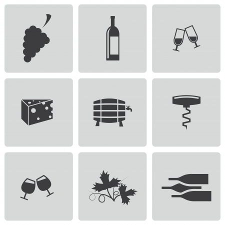 opener: black wine icons set on white