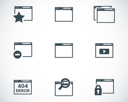 Vector black browser icons on white background Vector