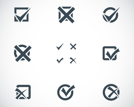 Vector black check marks icons set on white background