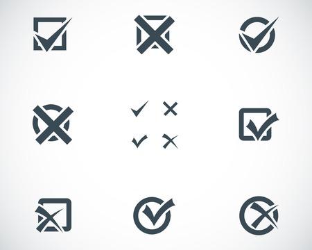 check marks: Vector black check marks icons set on white background