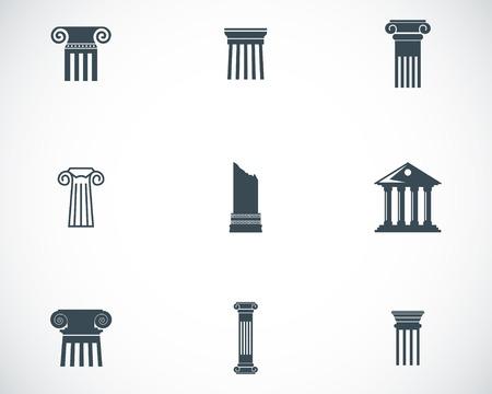 historical building: Vector black column icons set on white background