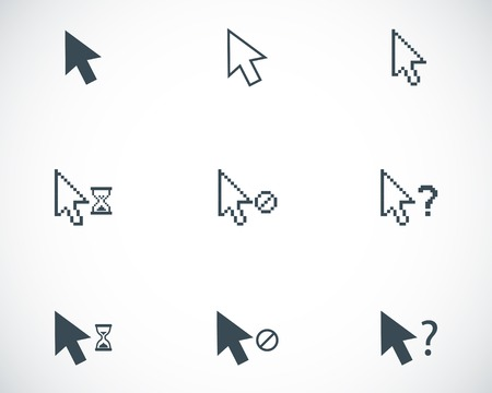 mouse cursor: Vector black mouse cursor icons set on white background
