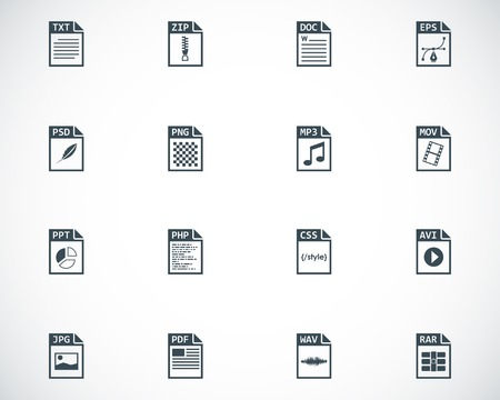 mov: Vector black file type icons set on white background