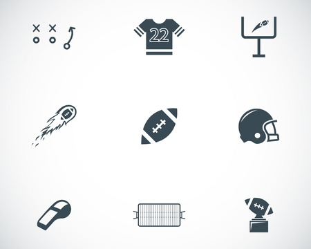 Vector black football icons set on white background Vector