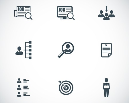 vacancies: Vector black job search icons set on white background