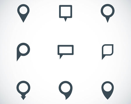 pin point: Vector black map pointer icons set on white background