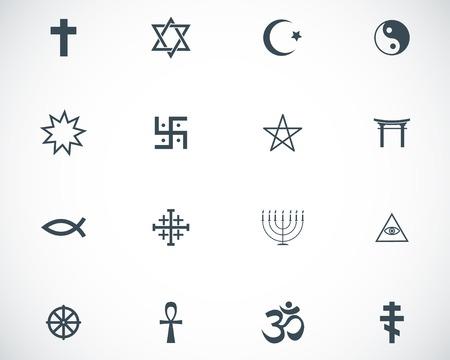 jesus fish: Vector black religious symbols set on white background