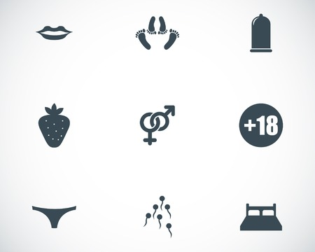 Vector black sex icons set on white background Vector