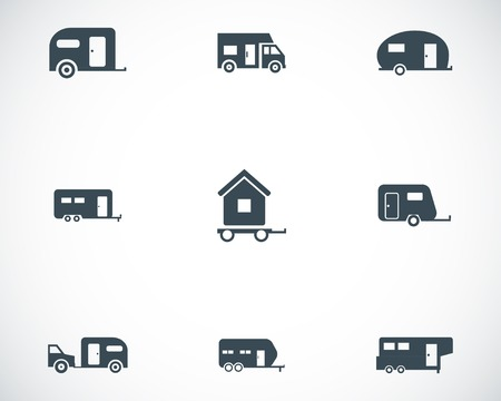 recreational vehicle: Vector black trailer icons set on white background