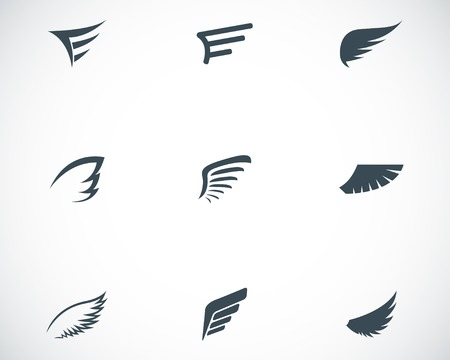 angel silhouette: Vector black wing icons set on white background