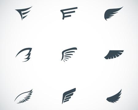 alas de angel: Vector iconos de ala negro situado en el fondo blanco Vectores