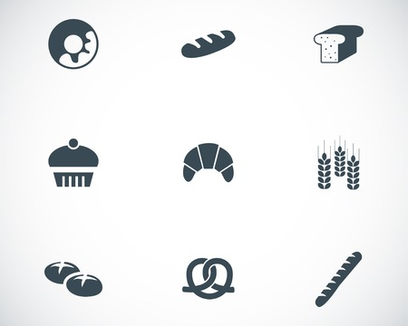 bread rolls: Vector black bakery icons set on white background
