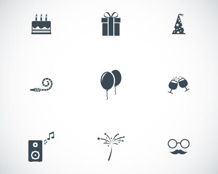 birthday hat: Vector black birthday icons set on white background